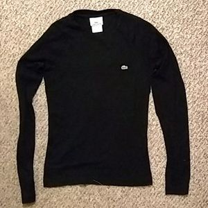 Black, long sleeved Lacoste shirt